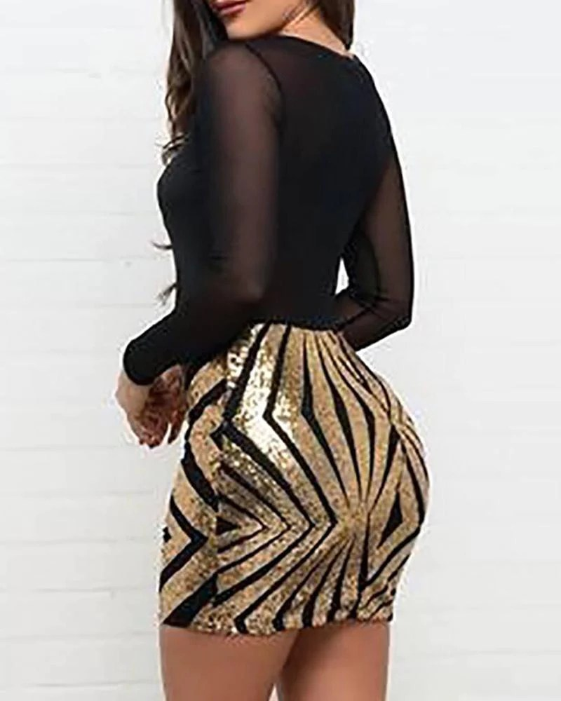 Mesh Sequined Bodycon Mini Dress
