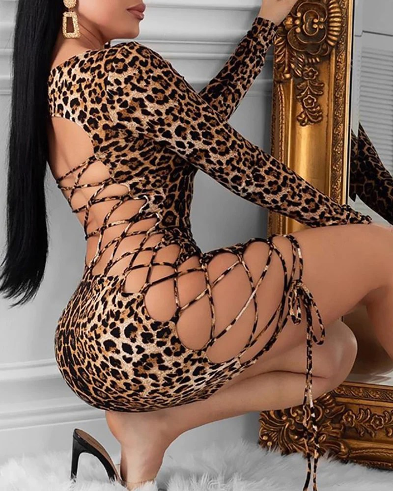 Leopard Print Backless Lace-Up Bodycon Dress 1
