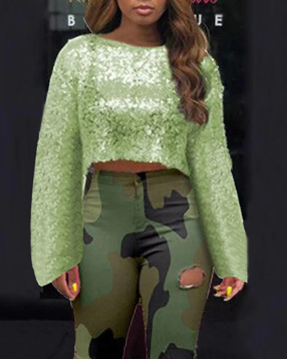 Glitter Round Neck Long Sleeve Sequins Crop Blouse 1