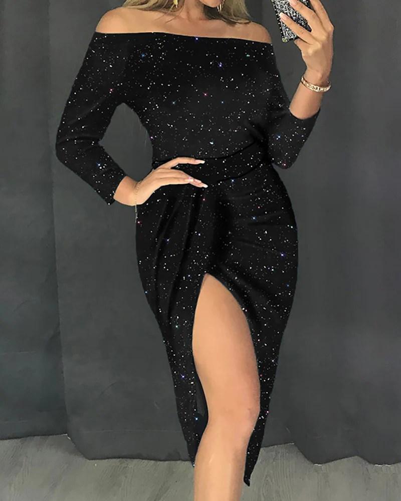 Glitter Slit Off Shoulder Party Dress 2
