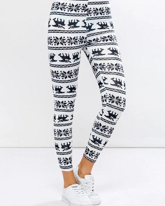 Women Christmas Snowflake Reindeer Print Slinky Legging 8