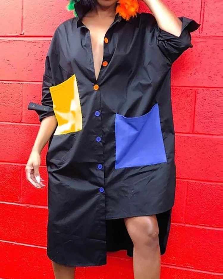 Colorblock Multicolor Button Irregular Shirt Dress 1