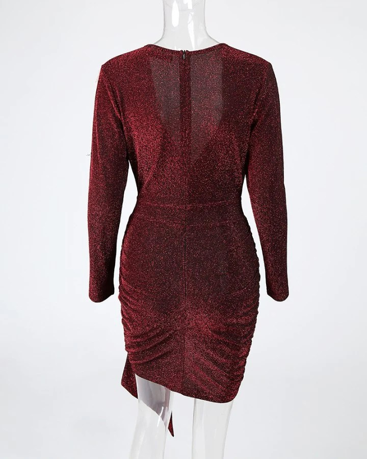 Glitter Plunge Ruched Irregular Bodycon Dress