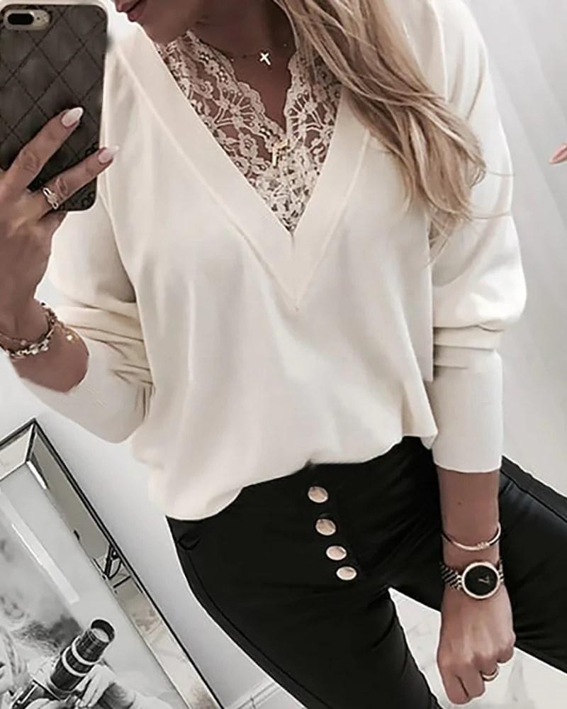 V Neck Lace Insert Long Sleeve Sweatshirt