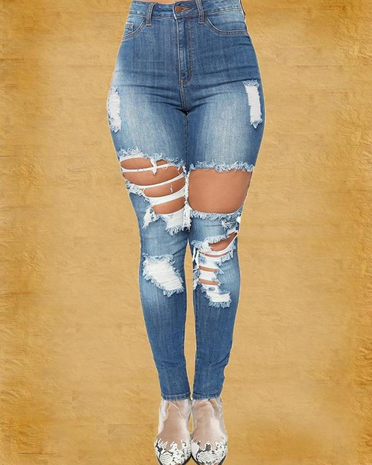 Cutout Fringes Distressed Pencil Jeans 8