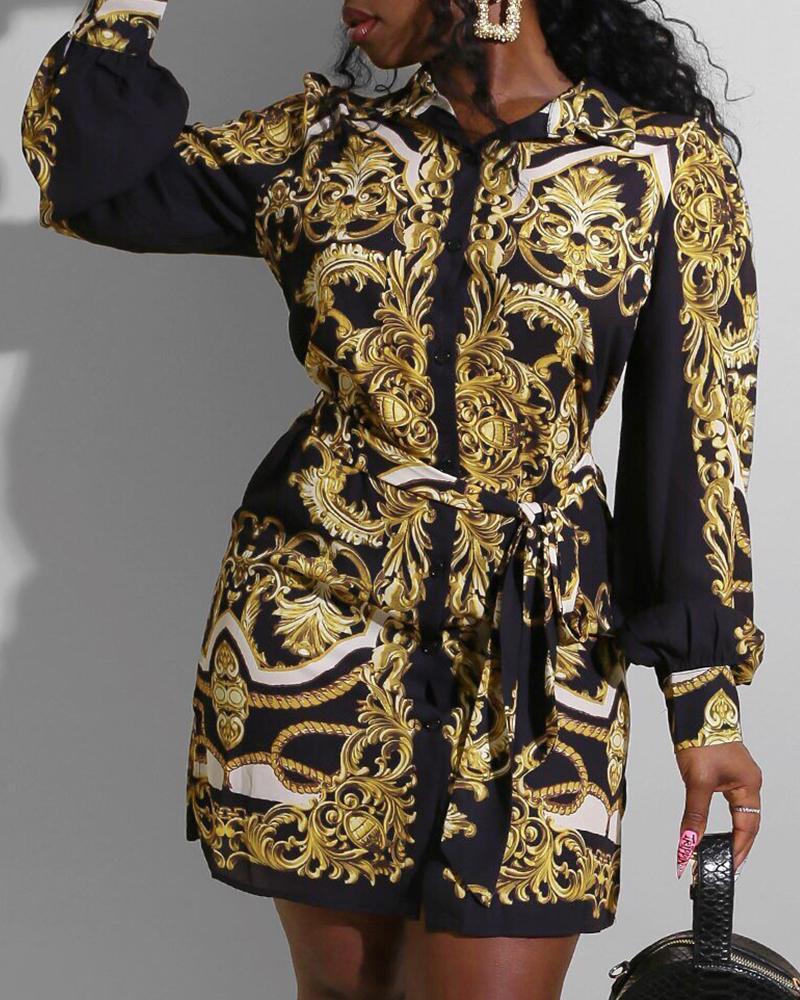 Baroque Print Long Sleeve Shirt Dress 6