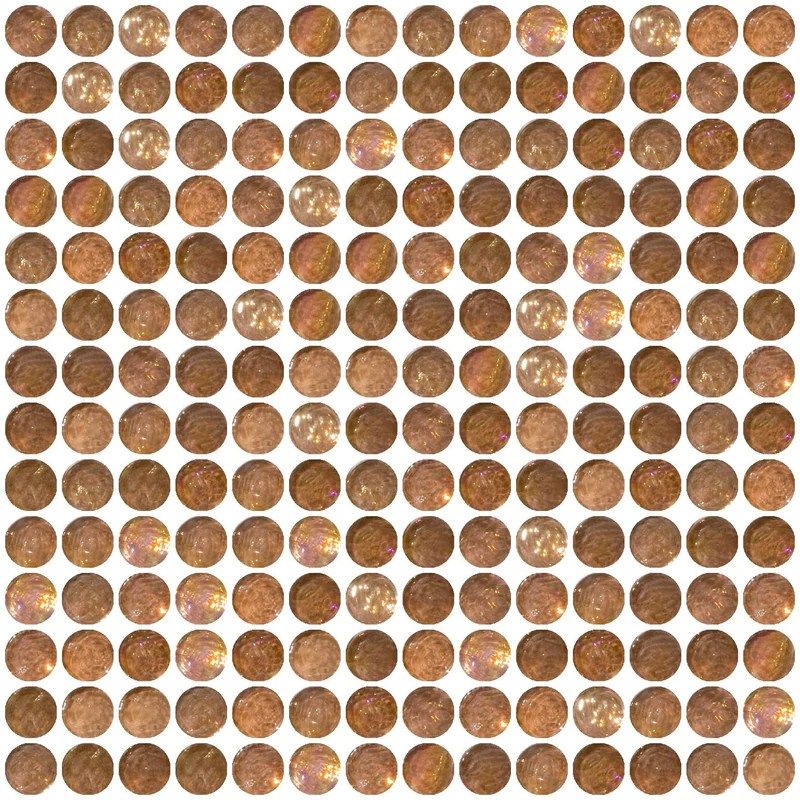 penny round blush pink iridescent glass tile grid