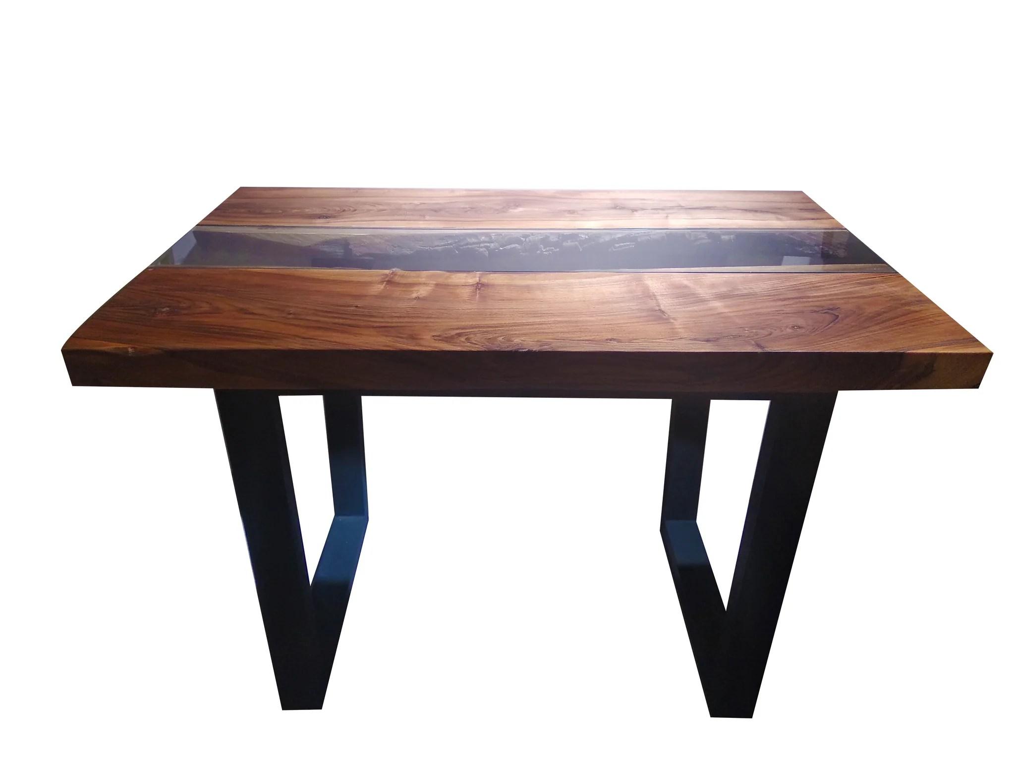table bois verre centrale