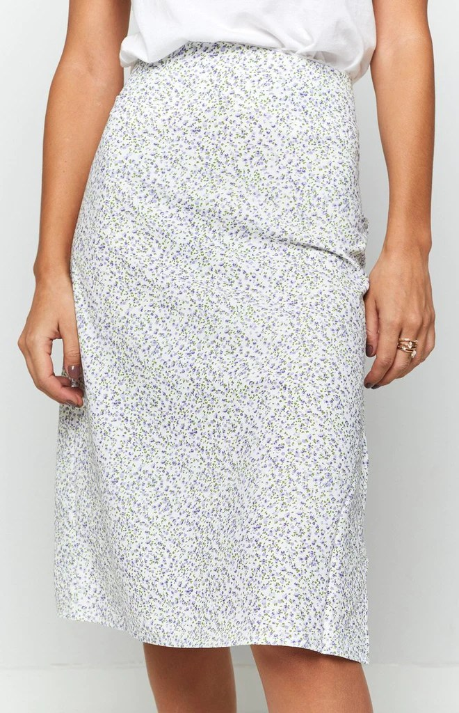 Hot chick Midi Skirt Lilac Floral 8