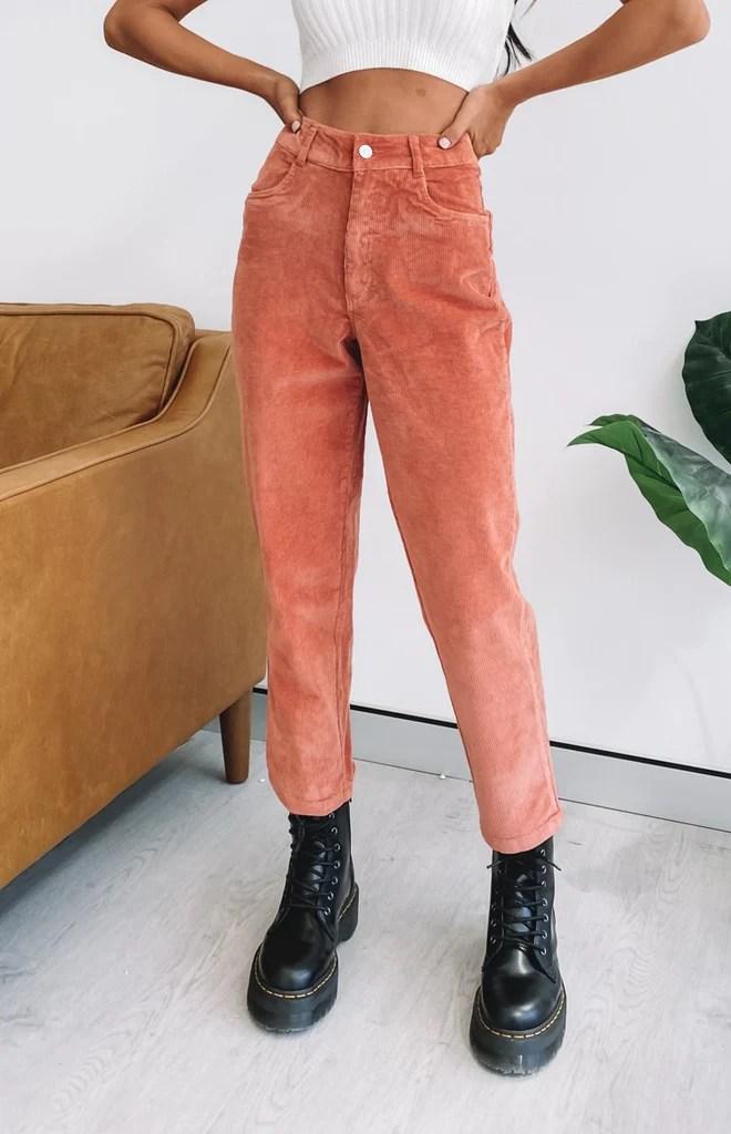 Beyond Her Mom Cord Pants Blush 4