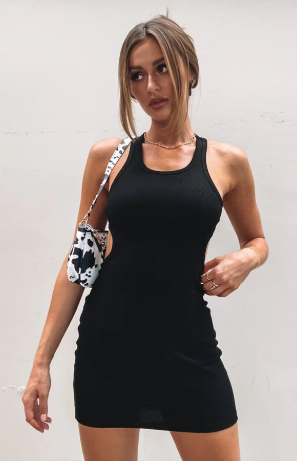 California Cut Out Mini Dress Black