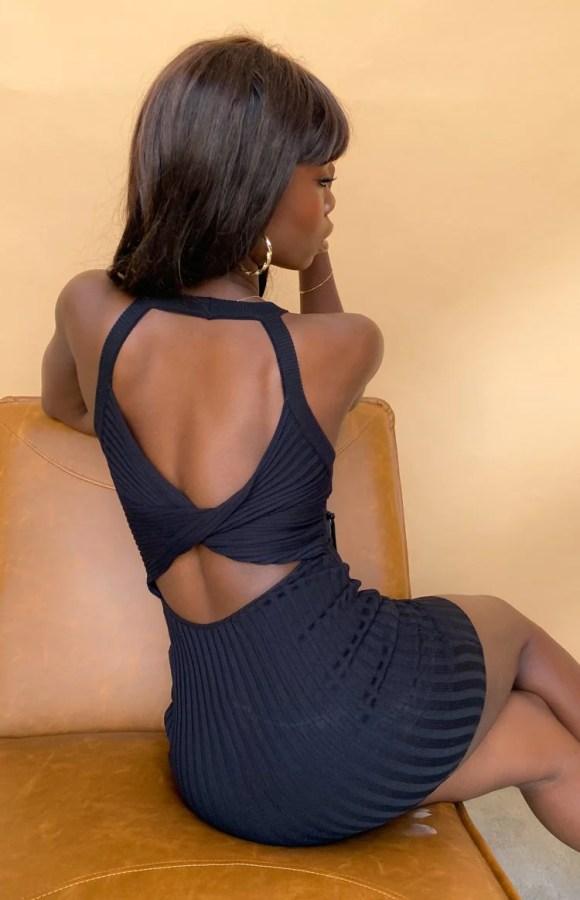 Dobin Twist Back Mini Dress Black