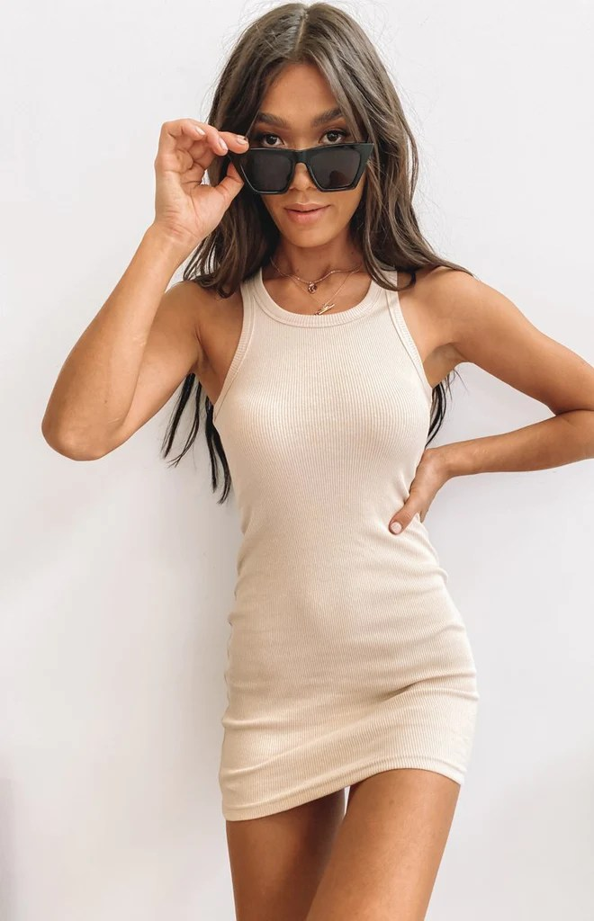 Eliza Ribbed Dress Beige 9