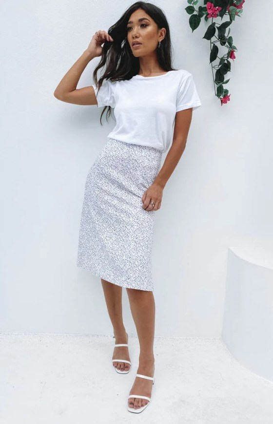 Hot chick Midi Skirt Lilac Floral 18