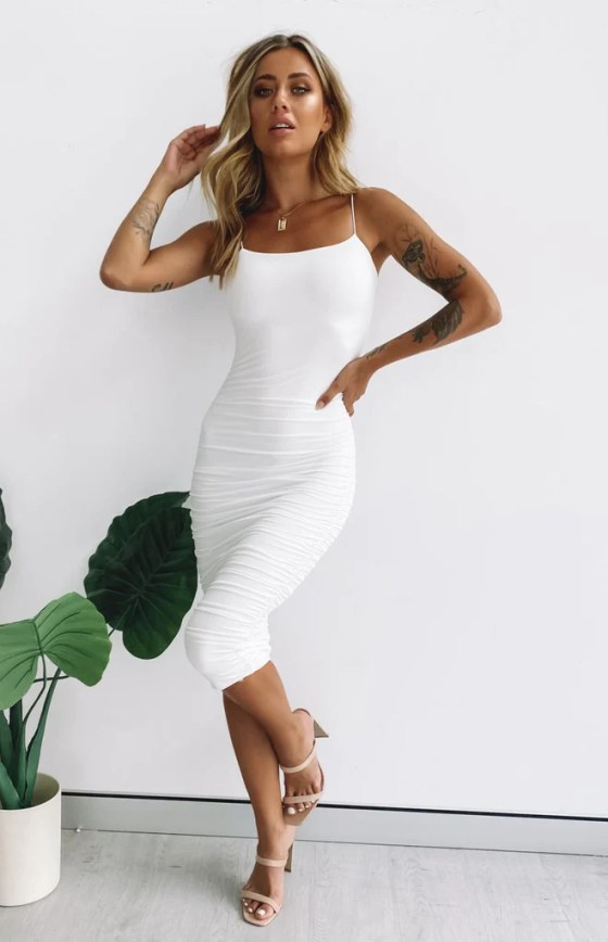 I'm All In Ruched Midi Party Dress White 14