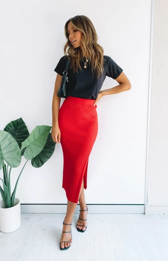 Laurena Knit Midi Skirt Red 31