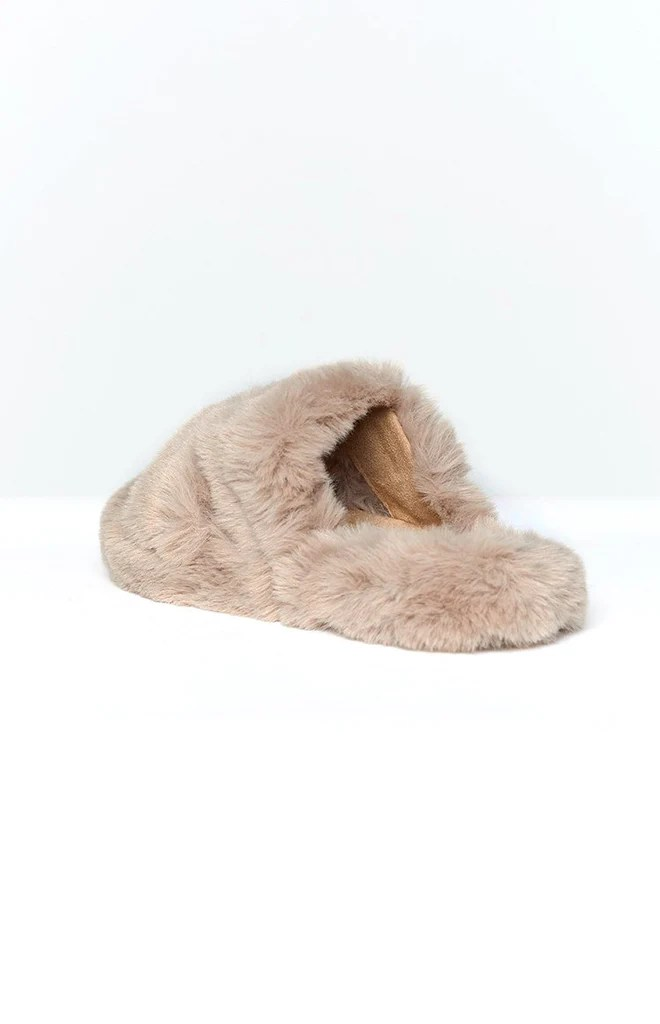Lila Faux Fur Slippers Brown 4