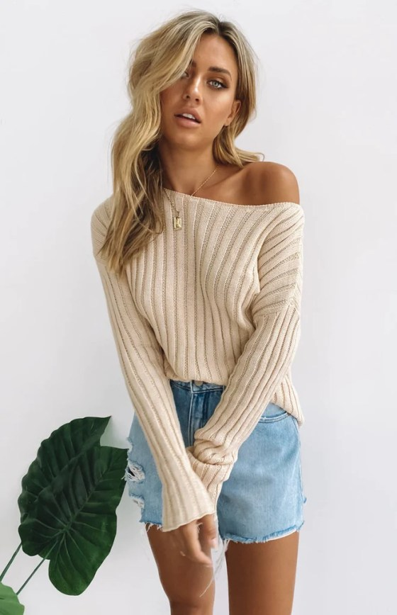 Lilium Long Sleeve Jumper Beige 1