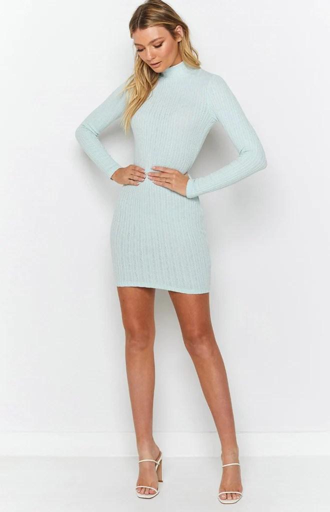 Mary Jean Long Sleeve Knit Dress Light Blue 5