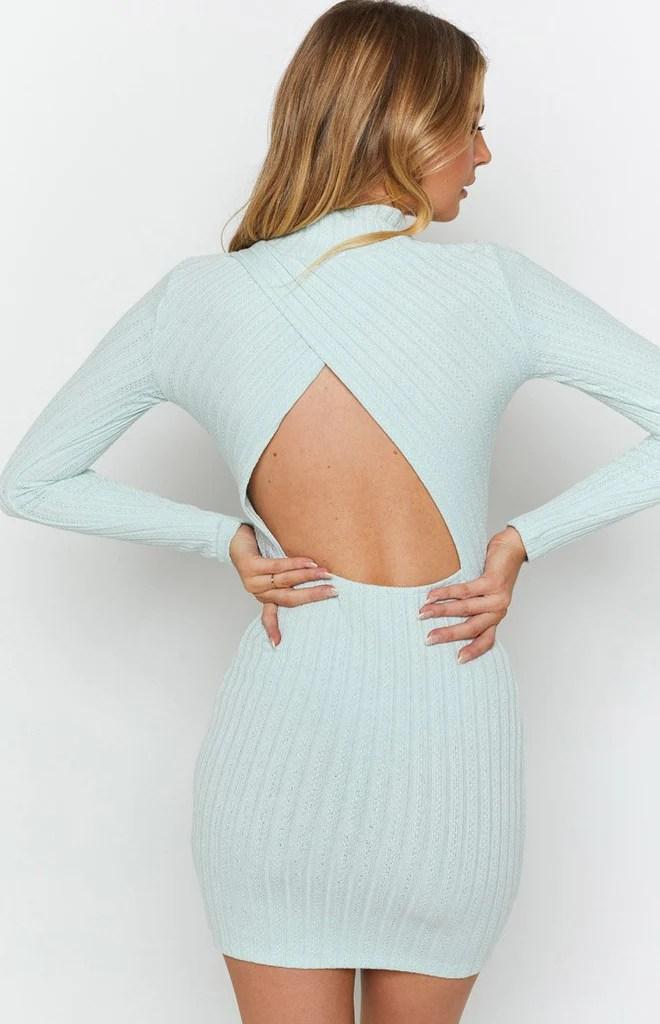 Mary Jean Long Sleeve Knit Dress Light Blue 8