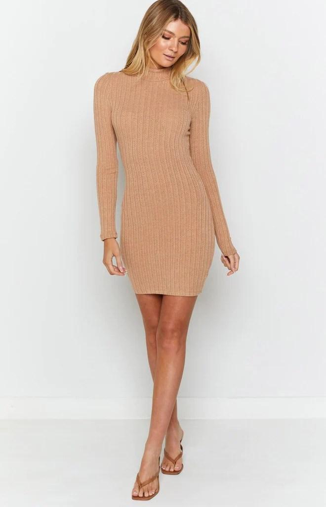 Mary Jean Long Sleeve Knit Dress Tan 5