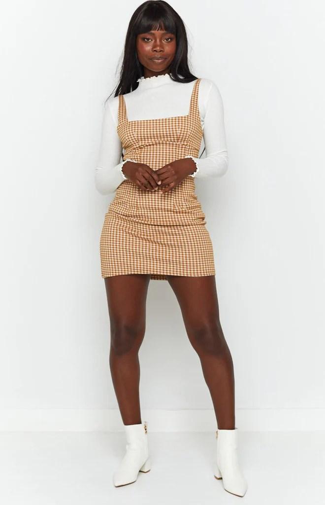 Pebbles Mini Dress Brown Check 6