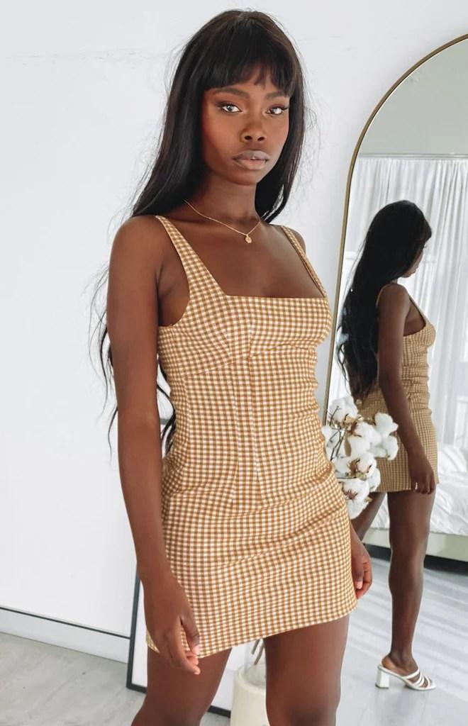 Pebbles Mini Dress Brown Check 3