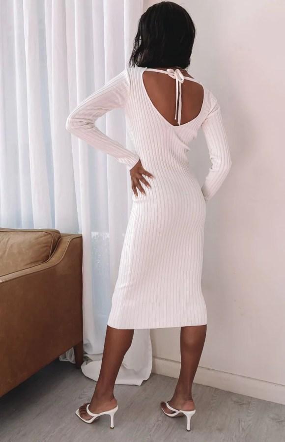 Ripple Knit Dress Cream