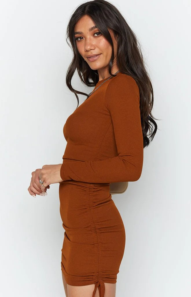 Shaunie Drawstring Dress Rust 7