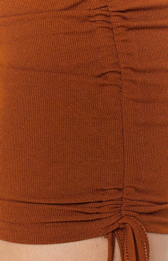 Shaunie Drawstring Dress Rust 9