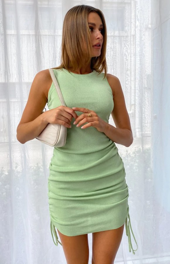Shelley Side Ruched Mini Dress Green
