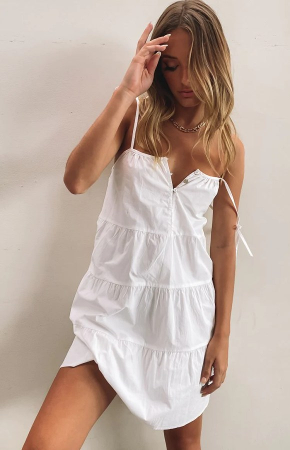 SNDYS St Tropez Mini Dress White