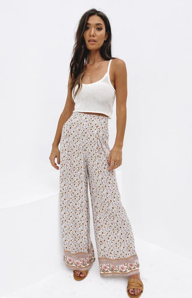 Sunflower Boho Print Wideleg Pants 1