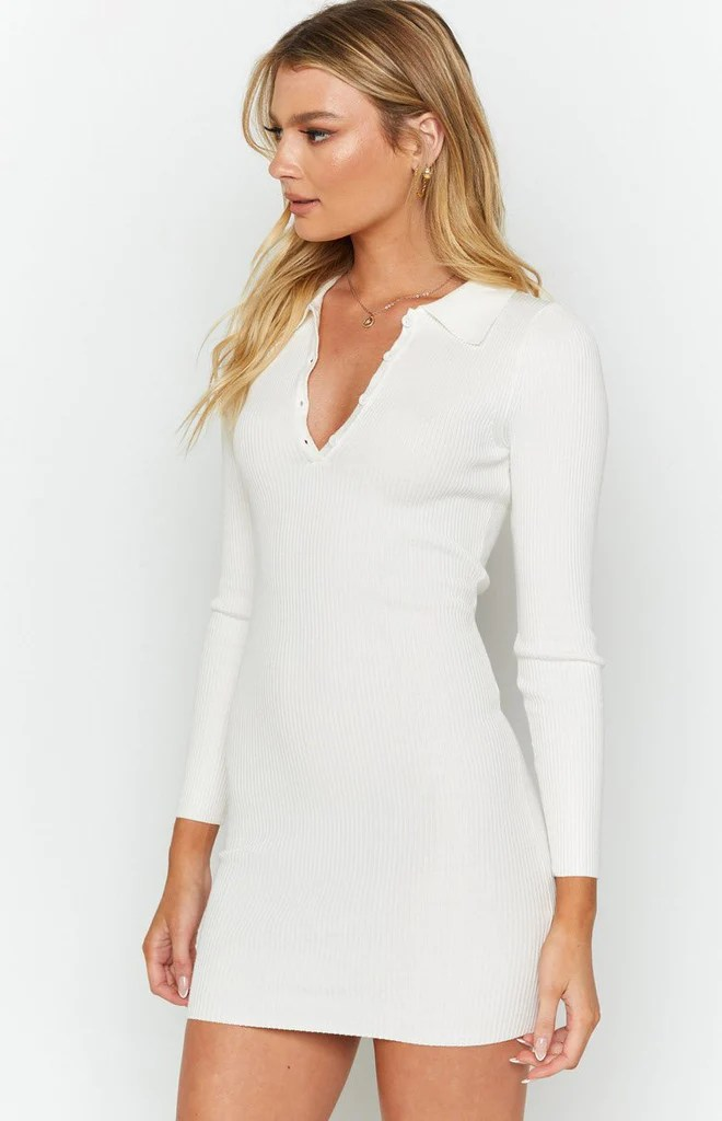 Underwood Collared Ribbed Dress White 7