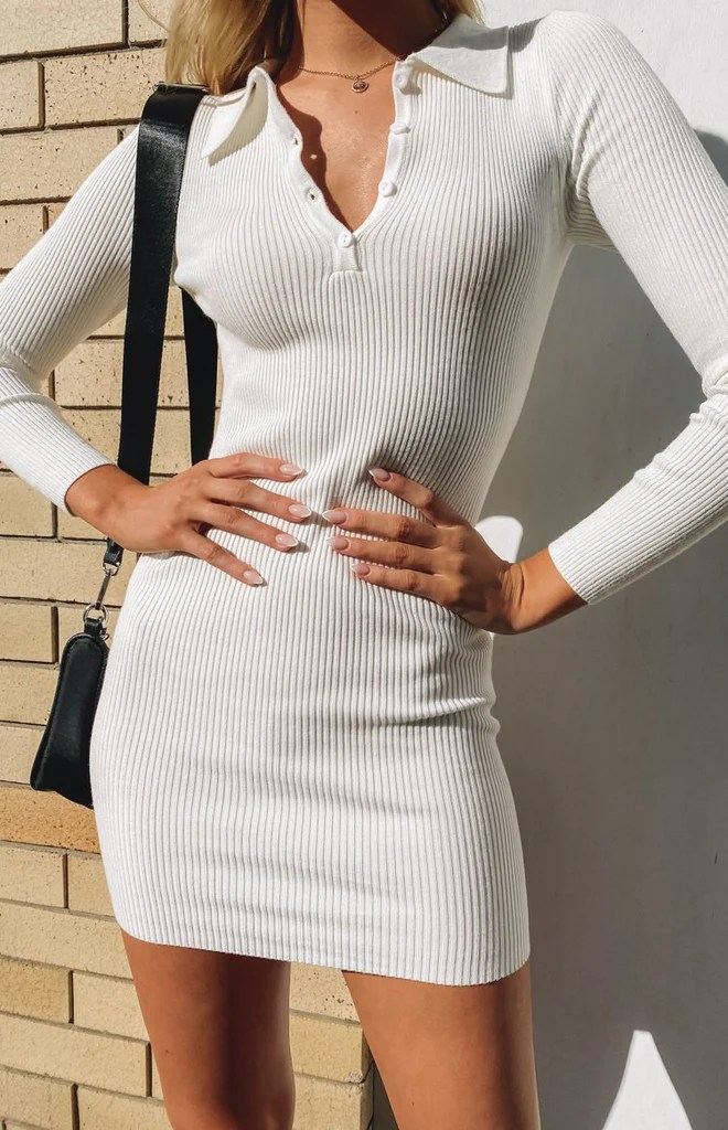 Underwood Collared Ribbed Dress White 3