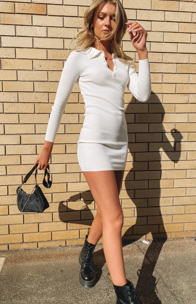 Underwood Collared Ribbed Dress White 11