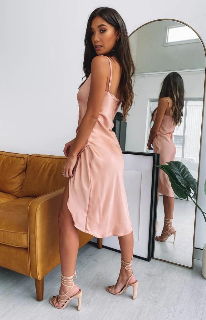 Zariah Slip Midi Dress Peach 9