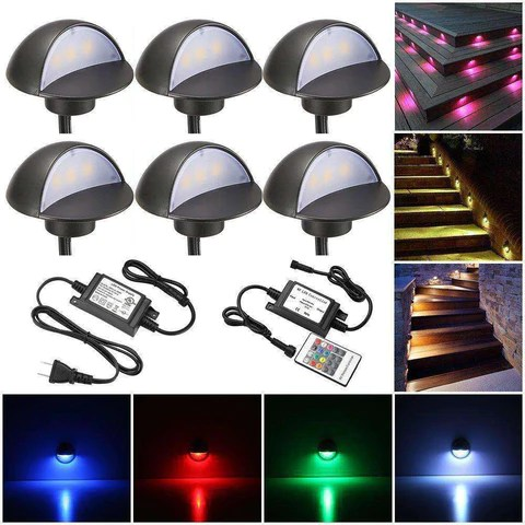 sumaote led deck stair lights kit 6 pack low voltage waterproof ip65 f1 97 led step light wood recessed rgb led lighting outdoor garden yard patio