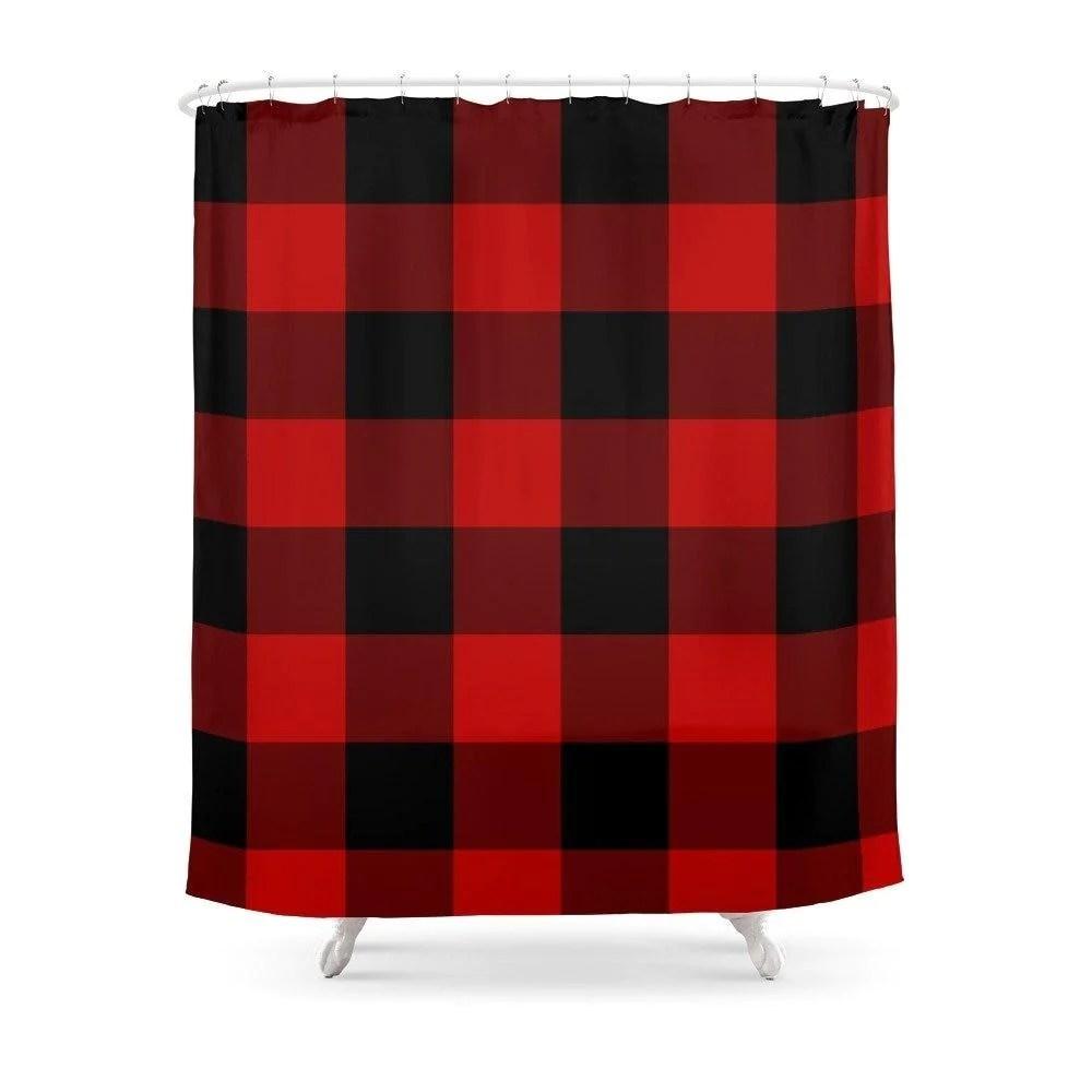 rideau de douche rouge et noir nettoyage maison shop