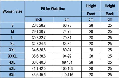 Waist Trainer Best for Women Plus Size Workout size chart