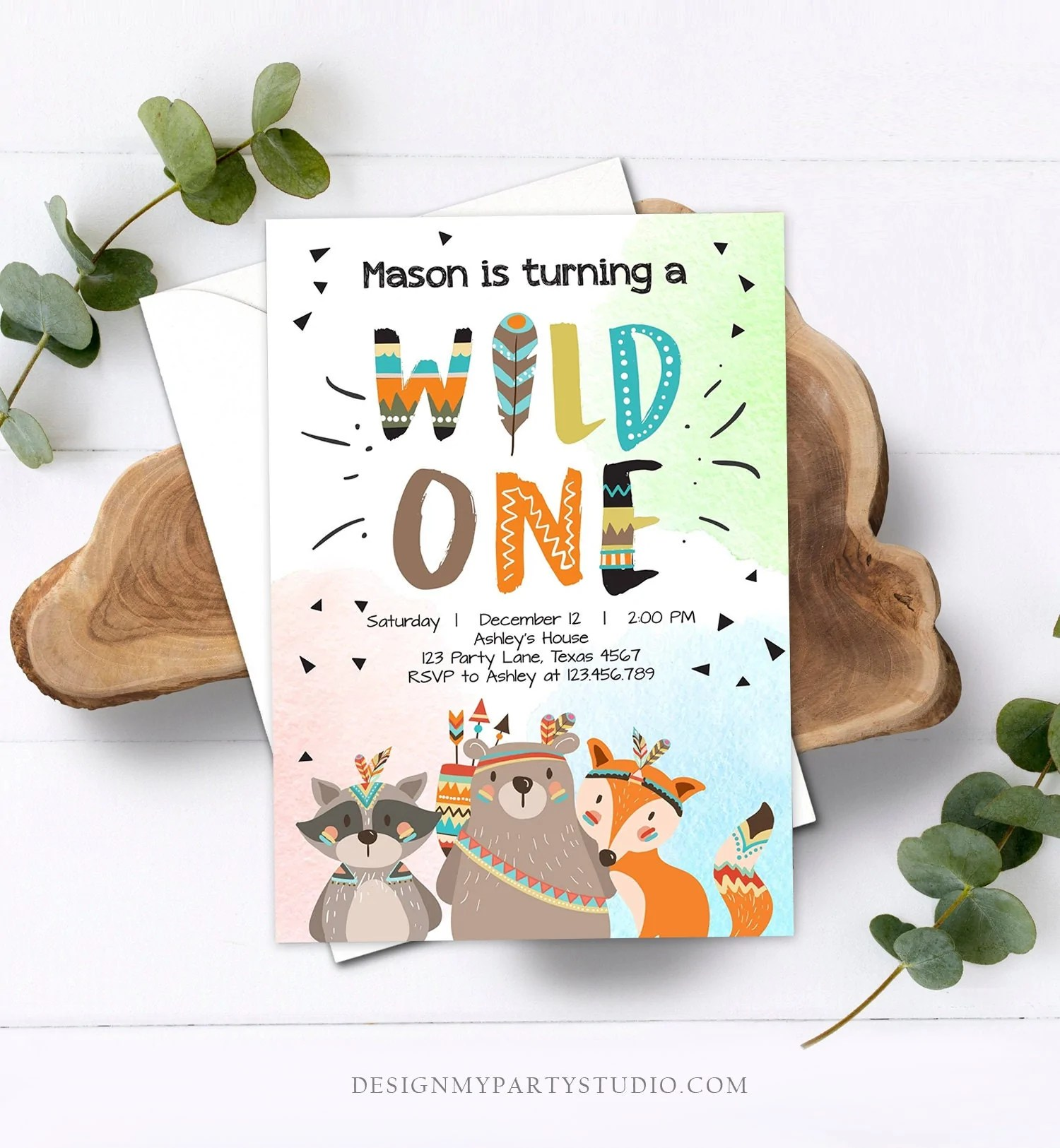 editable tribal woodland wild one first birthday invitation boho woodland animals boy instant download printable template corjl digital 0061