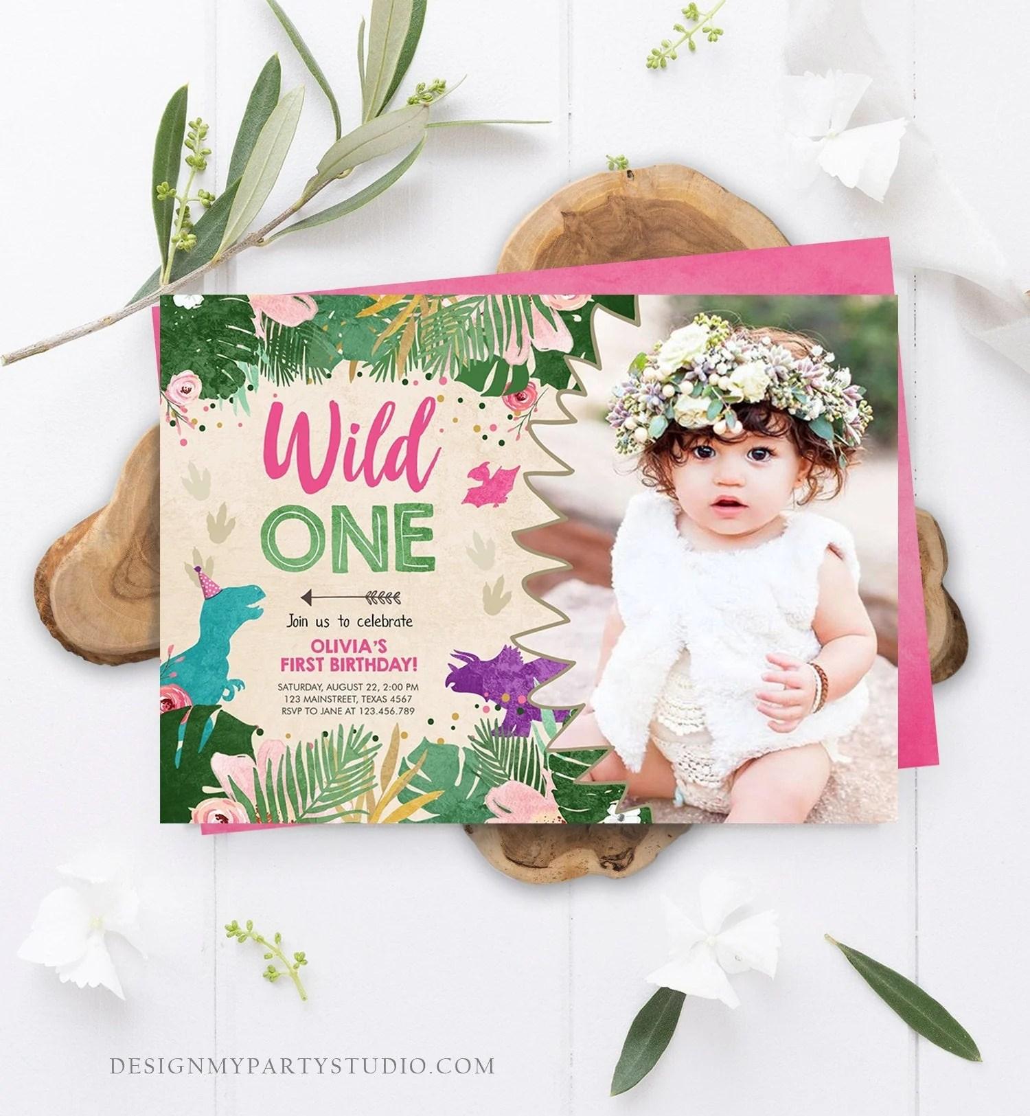 editable wild one birthday invitation dinosaur dino party girl 1st first birthday pink purple digital download corjl template printable 0146