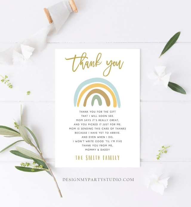 Editable Baby shower Thank you note Rainbow Thank You Rustic Boy Baby  Shower Pastel Neutral Birthday Template Instant Download Corjl 18