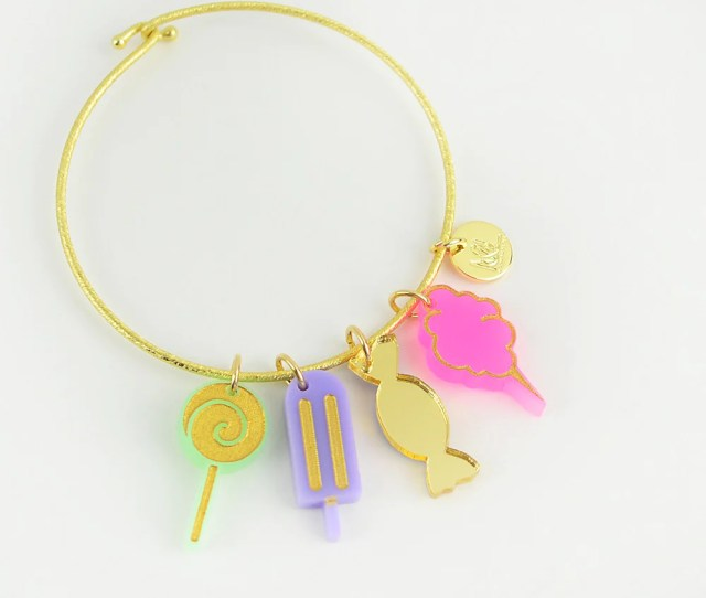 Nora Charm Bracelet With Lollipop Popsicle Wrapped Candy And Cotton Candy Charms