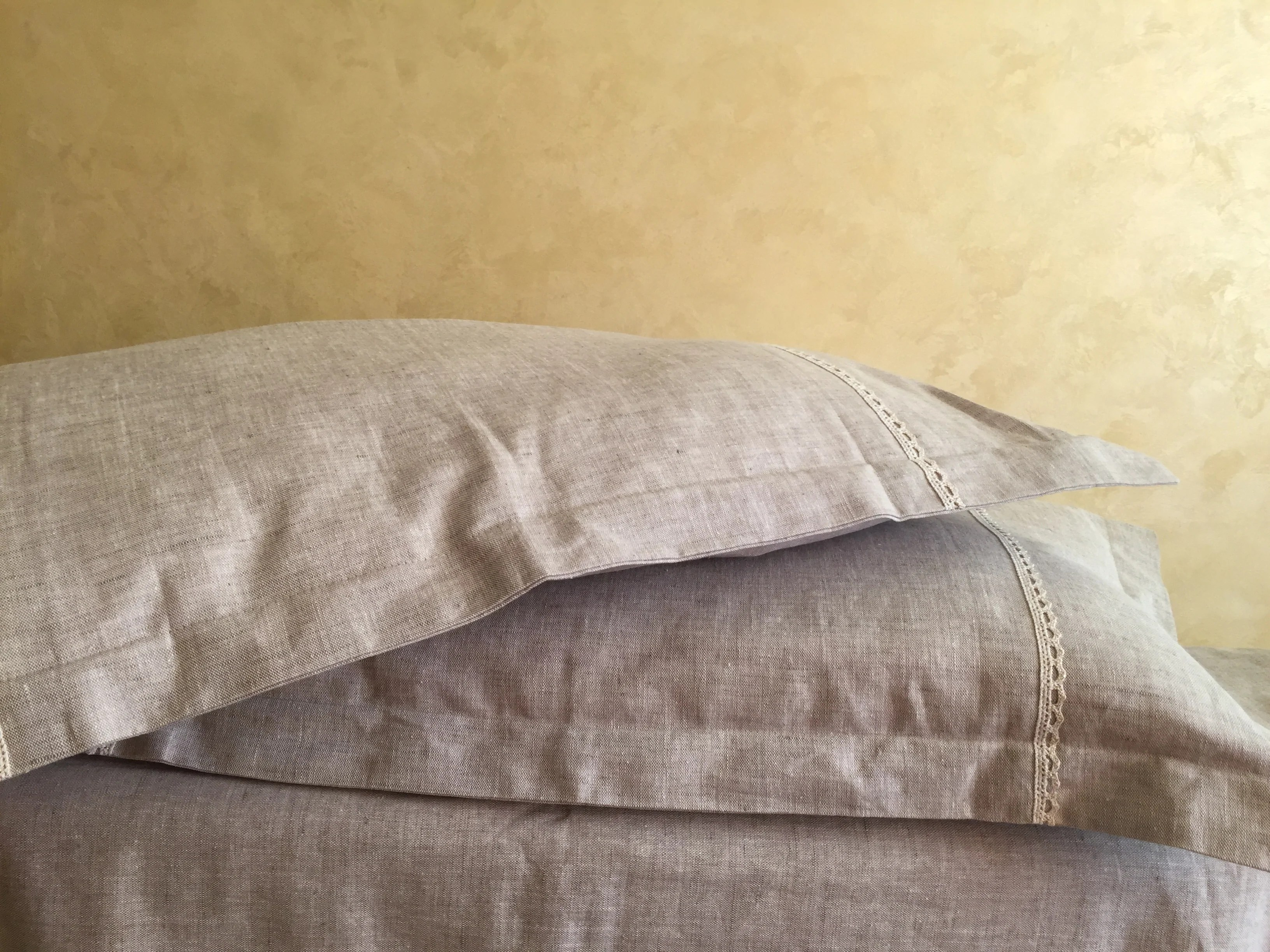 natural linen pillow sham with flanges and lace decor standard queen king euro sizes natural white or grey colors