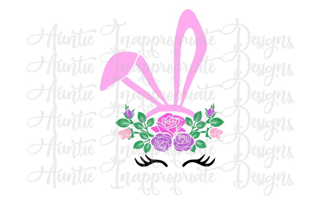 Download Bunny Ears with Flowers Digital SVG File - Auntie ...