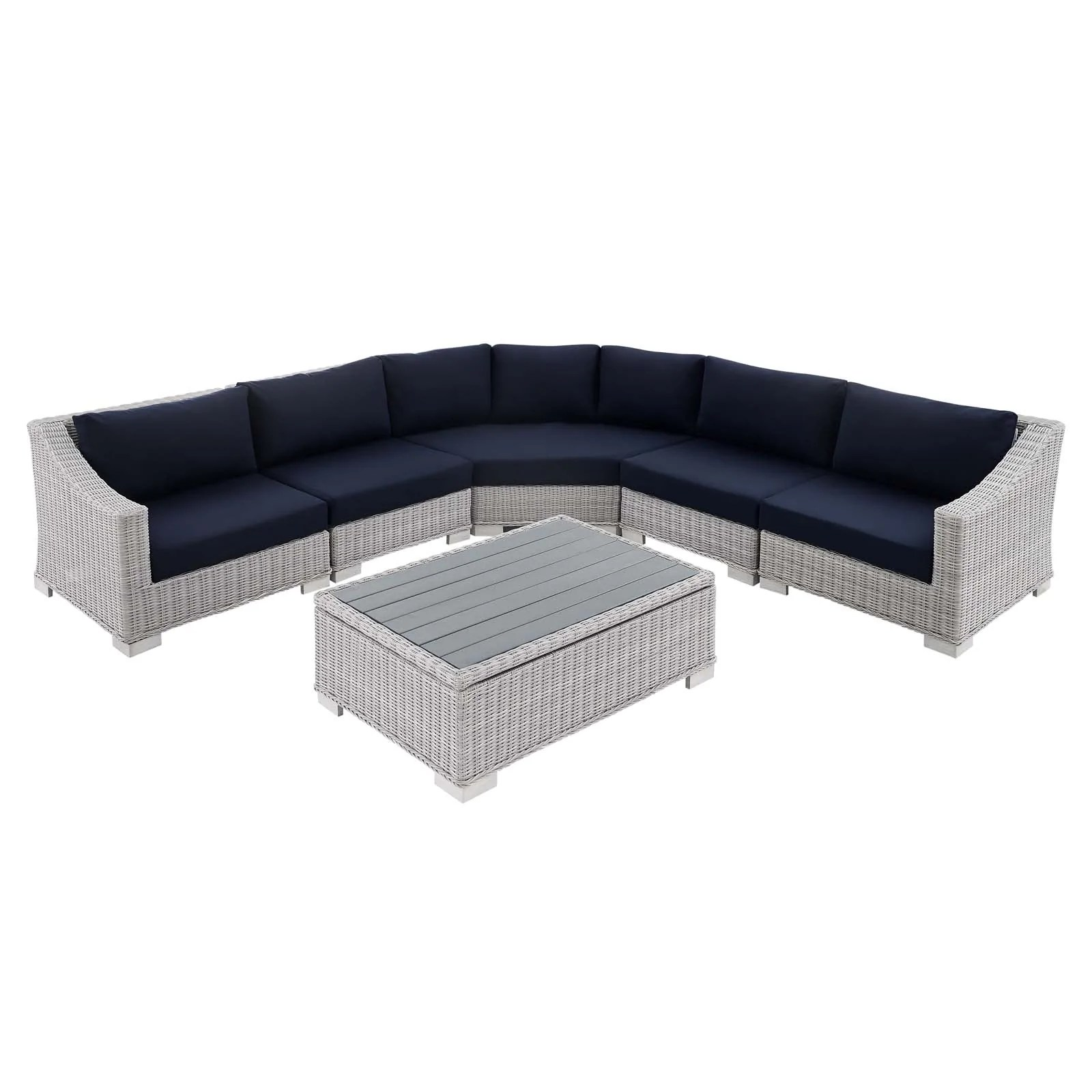 conway sunbrella outdoor patio wicker rattan 6 piece sectional sofa furniture set light gray navy