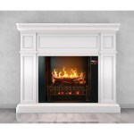 Magik Flame Artemis White Electric Fireplace Mantel Heater Logs Electric Fireplaces Depot