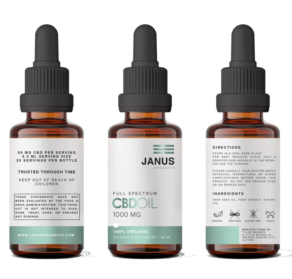 Three jars of the Janus Organics Full Spectrum CBD Oil 1000MG.