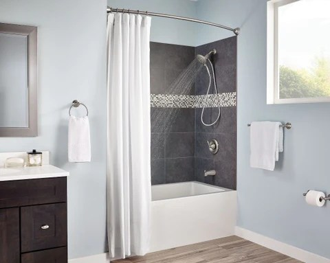 a curved shower curtain ro rotator rod